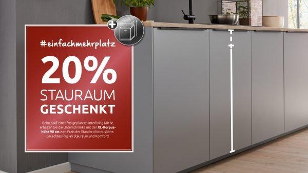 20% Stauraum geschenkt für Interliving Küchen
