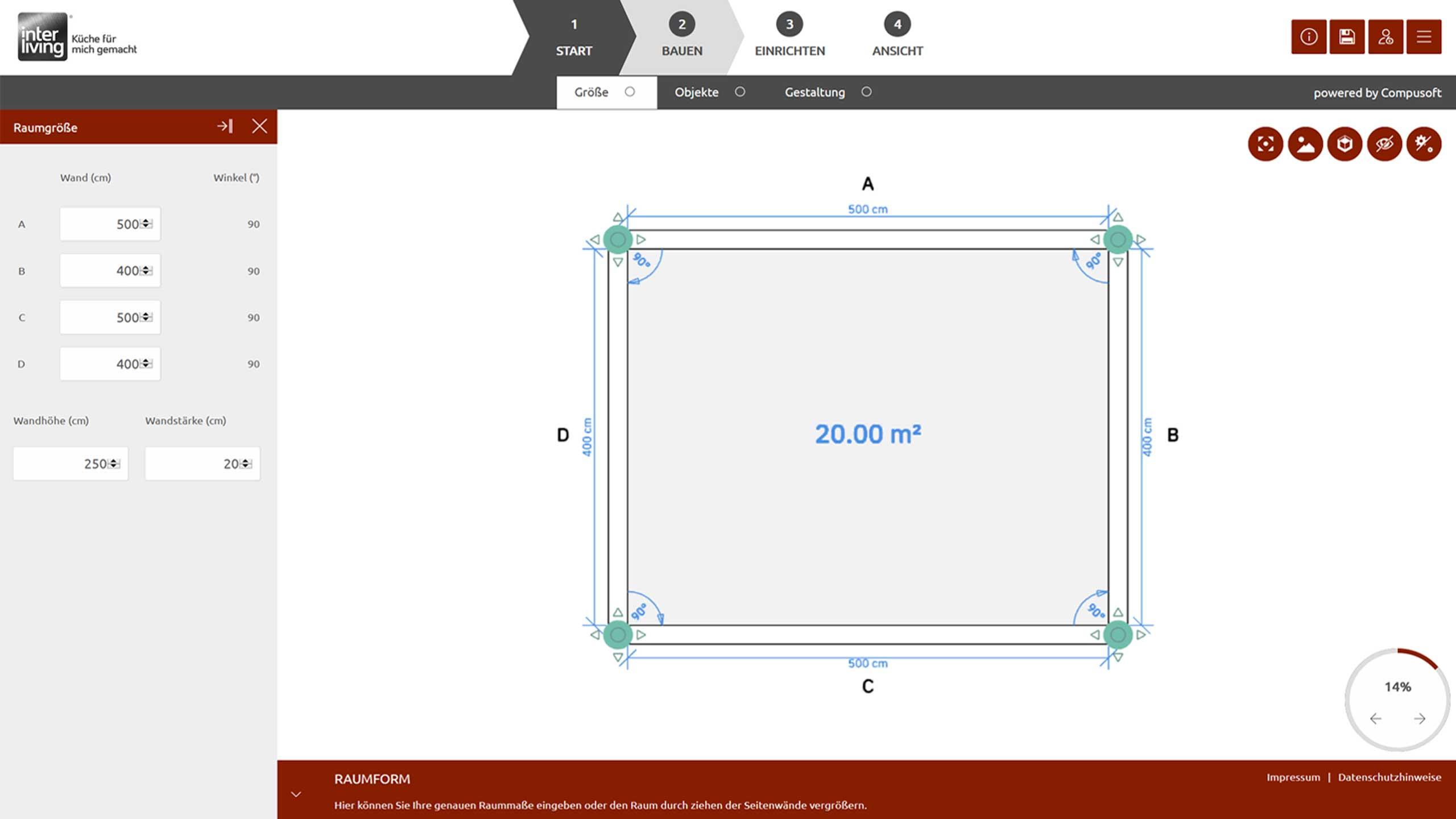 Raumplanung des Interliving Online Küchenplaners